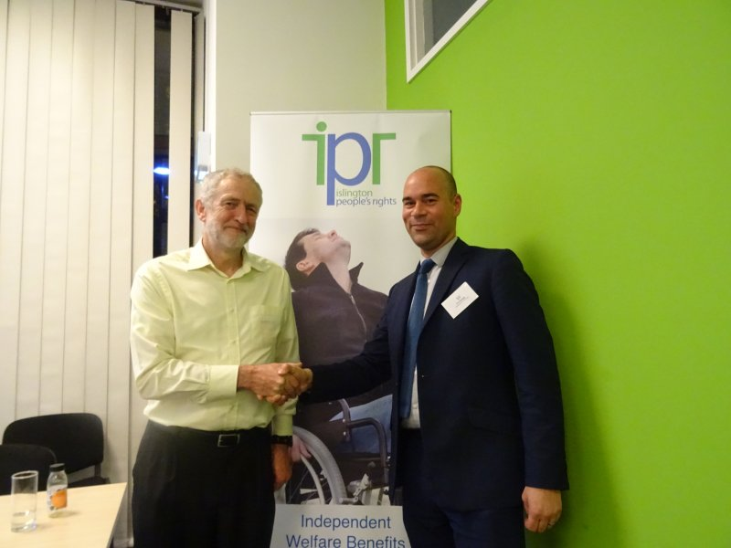 Jeremy Corbyn MP with Tim  Aldridge, the IPR Chair